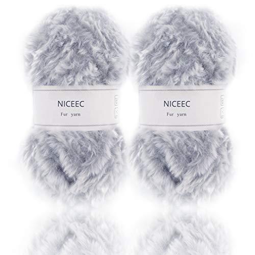 NICEEC 2 Skeins Super Soft Fur Yarn Chunky Fluffy Faux Fur Yarn Eyelash Yarn for Crochet Knit-Total Length 2×32m(2×35yds,50g×2)-Light Grey