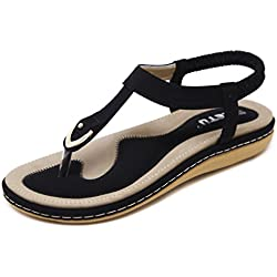 DolphinGirl Bohemian Simple T-Strap Summer Vacation Flat Thong Sandals, Black Herringbone Glitter Shiny Golden Metal Shoes for Dressy Casual Jeans Daily Wear and Beach Vacation