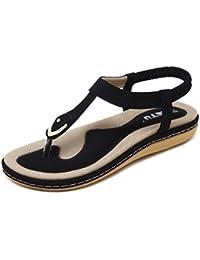 Women Bohemian Glitter Summer Flat Sandals T Strap Prime...