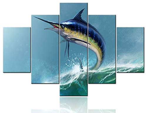 Room Wall Pictures Sword Fish Paintings Fantasy Scenery Wall Art 5 Panel Canvas for Living Room Rustic House Decorations Premium Quality Artwork Framed Ready to Hang Poster and Prints(60''Wx40''H)