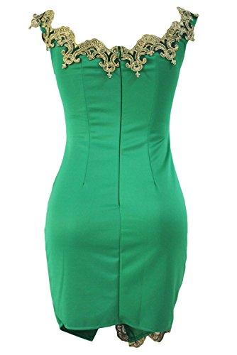 NEW Vert et Doré Dentelle Mini robe Club Wear Robe de soirée moulante Parti Porter Taille L 12