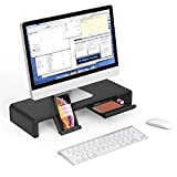 Monitor Stand Riser, Computer Laptop Riser Shelf with Organizer Drawer, Adjustable Length, Speaker TV PC Laptop Computer Screen Riser Desk Organizer, EURPMASK(Black)