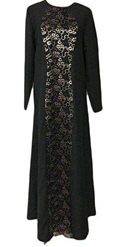Confortables Femmes Musulmanes Coutures Mince Partie Plage Maxi Robe Noire Solide Lacework