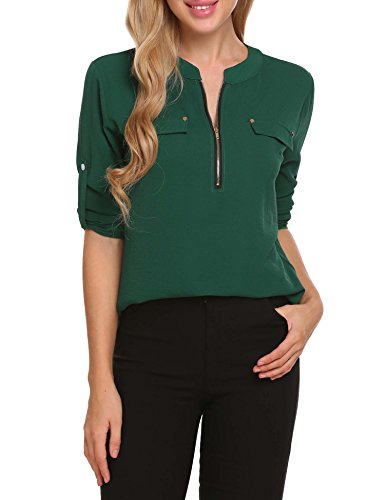ANGVNS Womens Chiffon Blouse V Neck Office Work Roll-Up Sleeve Zip Up Casual Dress Shirts Tops