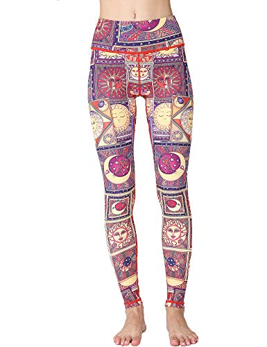 (Hioinieiy Womens Printed High Waisted Yoga Pants Women's Fabletics Workout Tummy Control Patterned Compression Leggings for Women Colorful L)
