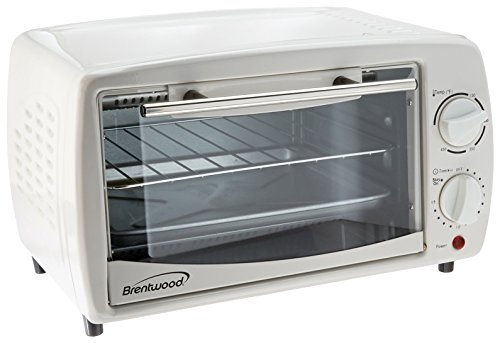 Brentwood 9-Liter (4 Slice) Toaster Oven Broiler (White) - 1 Year Direct Manufacturer Warranty