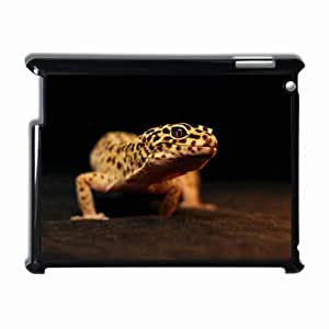 Customized Back Cover Case For iPad 2 3 4 Hardshell Case, Black Back Cover Design Leopard Gecko Personalized Unique Case For iPad 2