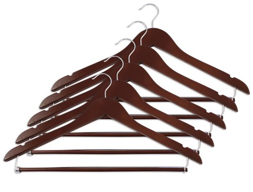 Closet Complete Wood Suit Hanger with locking bar, Distressed Walnut, Set of 5