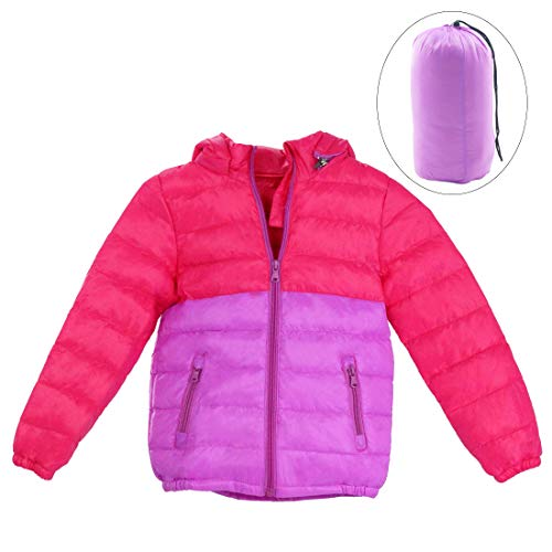 Happy Cherry Girls Hooded Jacket Lightweight Winter Down Puffer Coats for Children Casual Uniform 7-8T Rose Red