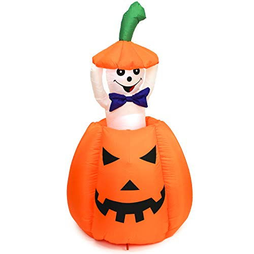 Halloween Haunters 5 Foot Animated Inflatable Pumpkin with a Pop-Up and Down Ghost with LED Lights Indoor Outdoor Yard Lawn Prop Decoration - Kids Love This Adorable Rise Up and Down Display by Halloween Haunters