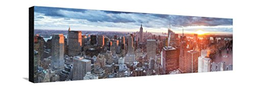 Manhattan View Towards Empire State Building at Sunset from Top of the Rock, at Rockefeller Plaza, New York, USA Stretched Canvas Print by Gavin Hellier - 42 x 14 (Rockefeller Building New York)