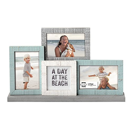 Prinz Sandy Shores Wood Mantel Collage Frame, White/Aqua/Bei