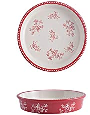 Ceramic Pie Pan, 9 Inch Heat-Resistant Pie Dish, Non-Stick Pie Plate with Hand Painted Flower Design Safe for Dishwasher, Microwaves, Ovens (Red)
