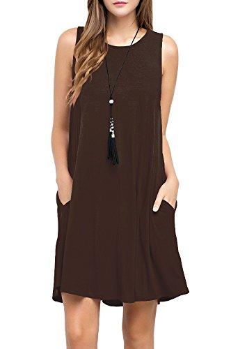 TOPONSKY Women's Sleeveless Pockets Casual Swing T-shirt Dresses (L, Chocolate)