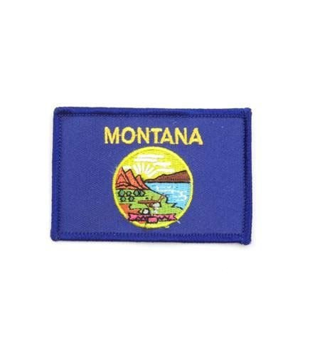 Montana USA State Square Flag Embroidered Iron-ON Patch Crest (Montana Logo Square)