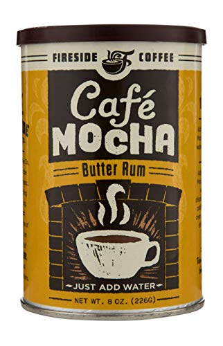 - Fireside Coffee Cafe Mocha Instant Flavored Coffee 8 Ounce Canister - Hot Butter Rum