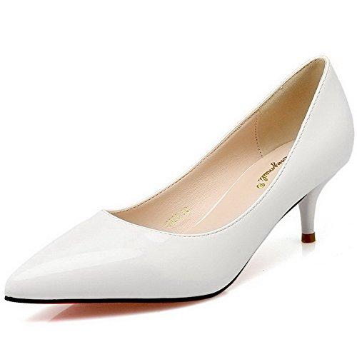 AalarDom Damen Pu Leder Mittler Absatz Spitz Zehe Pumps Schuhe Weiß