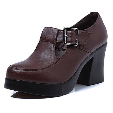Café Robusto 12 Zapatos Tacón Negro Cms Mujer Formales Y Lvyuan Primavera Coffee Casual Más Cuero Otoño ggx Tacones qAOxfBxWv7