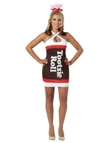 Sexy Candy Costumes (Candy Teardrop Dress Adult Costume Tootsie Roll - Standard)