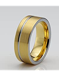 Tungsten Wedding Band Ring 8mm for Men Women Comfort Fit 18k Yellow Gold Pipe Cut Brushed Lifetime Guarantee
