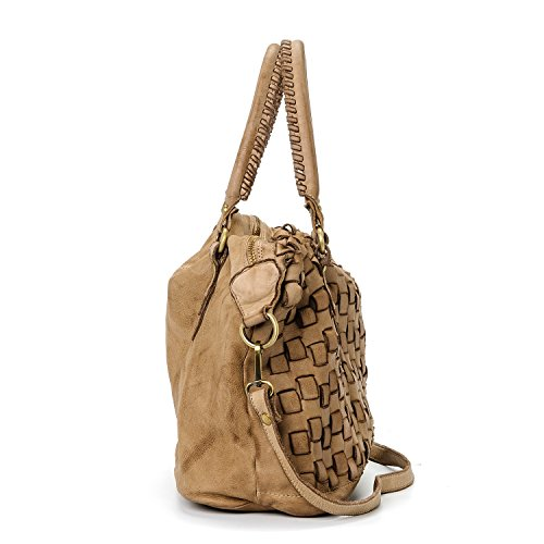 Ira del Valle, Bolso para mujer, Piel genuina, Vintage, Modelo San Francisco, Made in Italy Camello