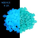 2lb 400PCS Glow in the Pebbles Stones for Indoor and Outdoor Walkways Garden Driveway Large Bag Powered By Light And Solar (Blue)