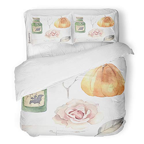 Emvency 3 Piece Duvet Cover Set Brushed Microfiber Fabric Breathable Halloween Watercolor Poison Bottle Pumpkin Rose Label Leaf Branch Bedding Set with 2 Pillow Covers Full/Queen -