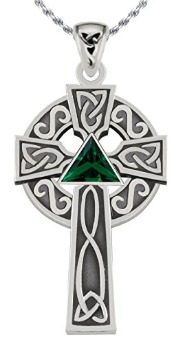 1.5in 0.925 Sterling Silver Simulated Emerald Irish Celtic Knot Cross Pendant (Emerald Celtic Cross Pendant)