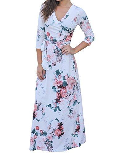 Meilidress Womens Floral Print Front Tie Waist Maxi Dresses 3/4 Sleeve V Neck Long Dress (Print Dress Floral White)