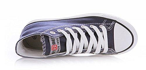 Sfnld Mens Womens Spring Fall Classic High Top Scarpe Di Tela Sneaker Blu