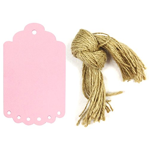 Allydrew 50 Gift Tags/Kraft Hang Tags with Free Cut Strings for Gifts, Crafts & Price Tags, Large Scalloped Edge (Pink)
