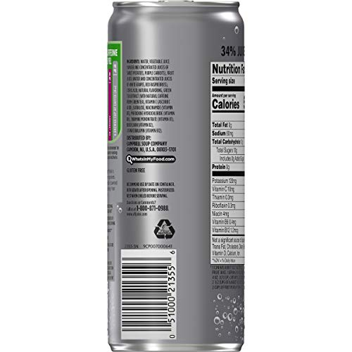 V8 +Energy, Juice Drink with Green Tea, Sparkling White Grape Raspberry, 12 oz. Can (Pack of 12)