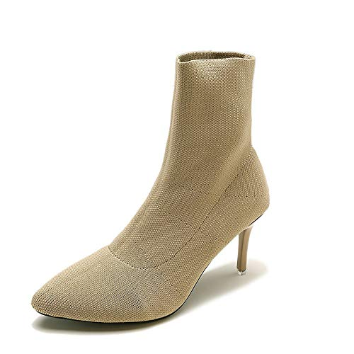Khaki US6   EU36   UK4   CN36 Khaki US6   EU36   UK4   CN36 Women's Fashion Boots PU Elastic Fabric Fall Minimalism Boots Stiletto Heel Pointed Toe Mid-Calf Boots Black Khaki