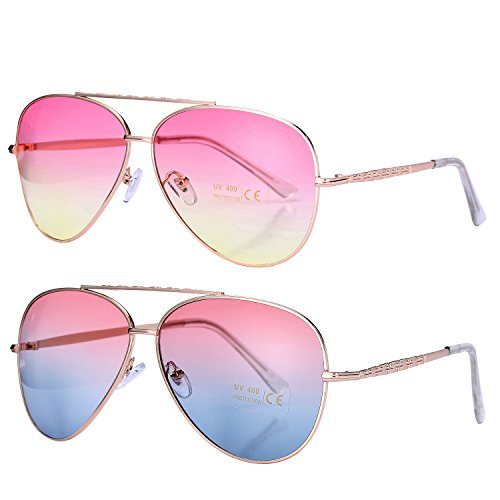 Pro Acme Aviator Style Sunglasses with Metal Frame Gradient Colored Lens UV400 Protection (2 Pairs) Gold Frame/Pink Yellow Lens + Gold Frame/Pink Blue - Discount Sunglasses