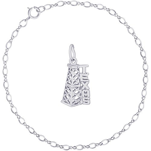 Rembrandt Charms Sterling Silver Texas Oil Rig Charm on a Classic Link Bracelet, 7