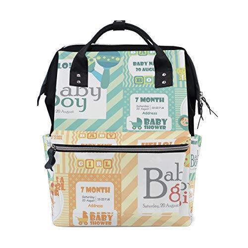 Backpack Baby Shower Card Collection Mens Laptop Backpacks Shoulder Hiking Daypack