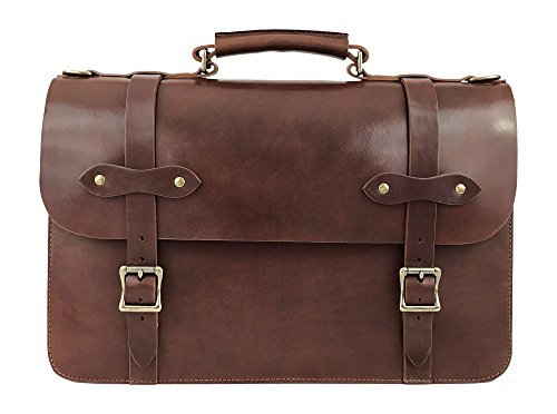 Jackson Wayne Vintage Full Grain Leather Briefcase Laptop Bag (Vintage Brown)
