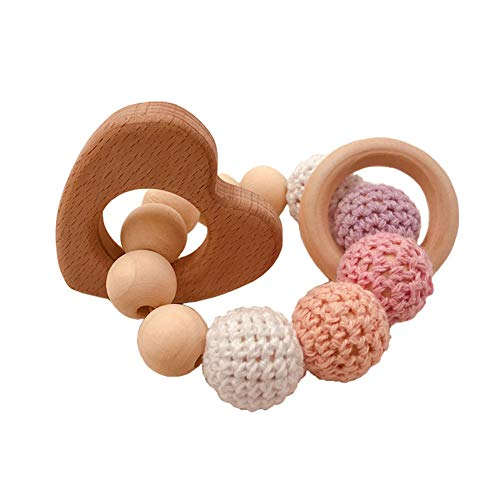 Heart Baby Rattle - eroute66 Wooden Teether Baby Gym Rattle Teether Natural Raw Crochet Beads Toy Baby Teething Ring Chew Toy Hearts