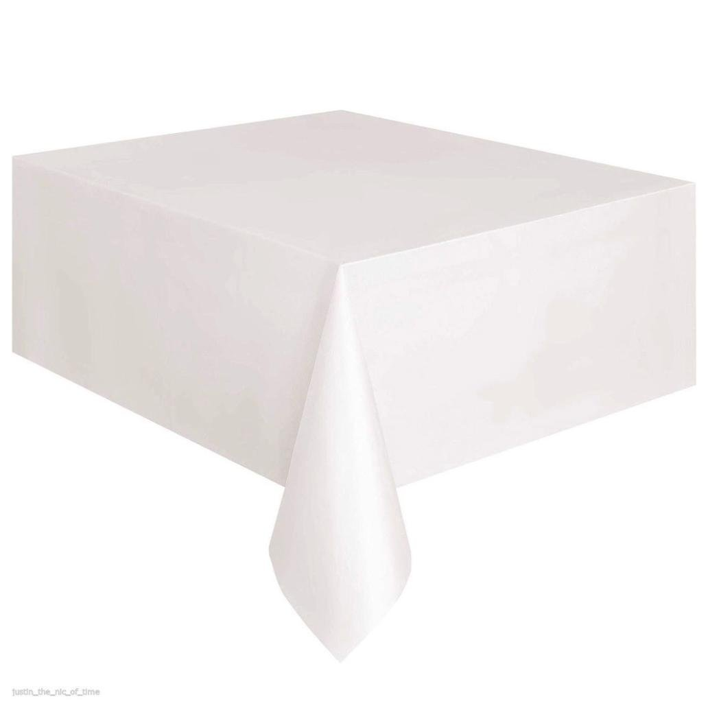 Coohole Disposable Plastic Tablecloth,6ft x 4.5ft Rectangle Table Cover (White)
