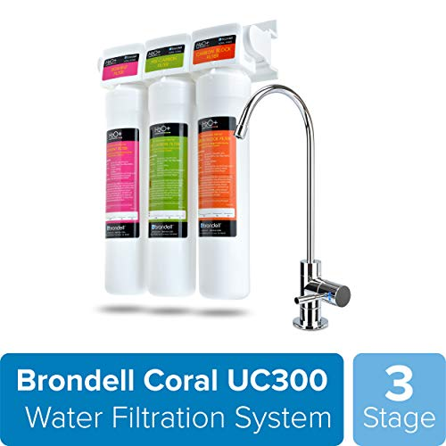 Brondell H2O+ Coral UC300 Three-Stage Undercounter Water Filtration System - Water Purifier with Designer Chrome Faucet - Quick Change Filter, WQA Gold Seal-Certified