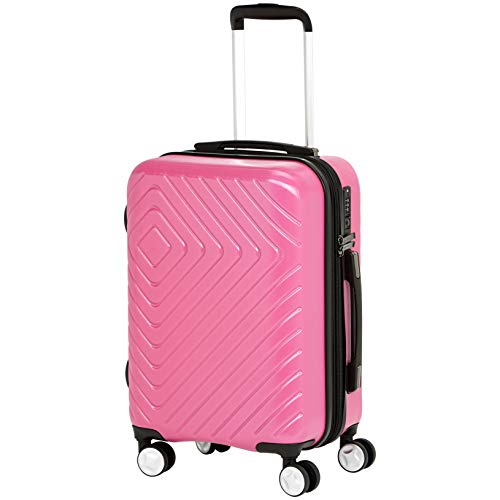 AmazonBasics Geometric Hard Shell Carry-On Rolling Spinner Suitcase Luggage - 20 Inch, Pink - Lightweight Carry Luggage