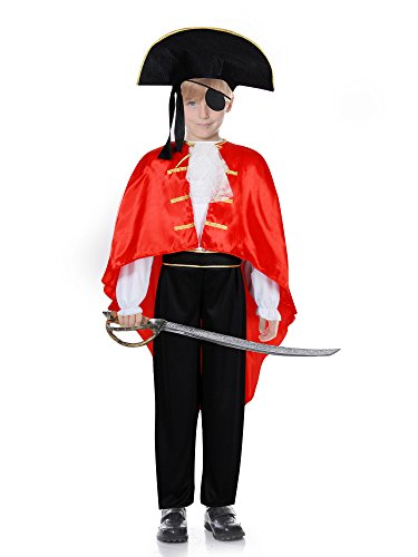 [Pirate Boy Costume (4-6Years, Red/Black)] (Napoleon Hat Costume)