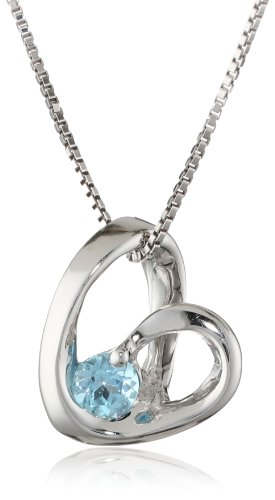 Sterling Silver Round Swiss Blue Topaz Heart Pendant Necklace, 18""