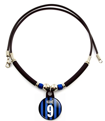 Inter Milan Soccer Jersey (Inter Milan Soccer Jersey Necklace Personalized with Your Name and Number, PERSONALIZE BY EMAIL)