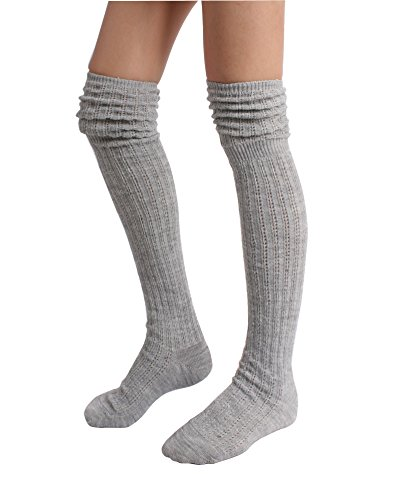 (STYLEGAGA Winter Slouch Top Over The Knee High Knit Boot Socks (One Size:XS to M, Slouch Top_Gray))