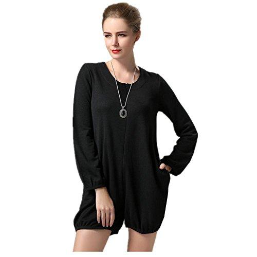 allentate esterno pannello pantaloni a lunghe donne Base Formato abito Nuove Black Grande maniche BXxq5pF