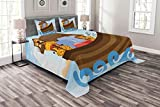 Lunarable Cartoon Bedspread Set King Size, Different Wild Animals on The Ark Boat Cheerful Story with Characters Fun Image, Decorative Quilted 3 Piece Coverlet Set with 2 Pillow Shams, Multicolor
