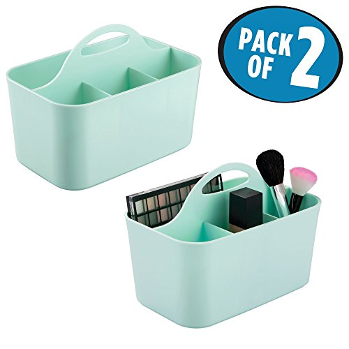 Handle Supply (mDesign Cosmetics Tote Caddy with Built-In Handle for Brushes, Foundation and Beauty Supplies - Pack of 2, Mint)