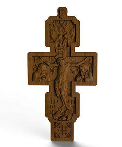 - Wood cross our father 4 inch byzantine pectoral cross Natural Oak orthodox crucifix christian Wood Carving Easter Religious gift wood cross car charm