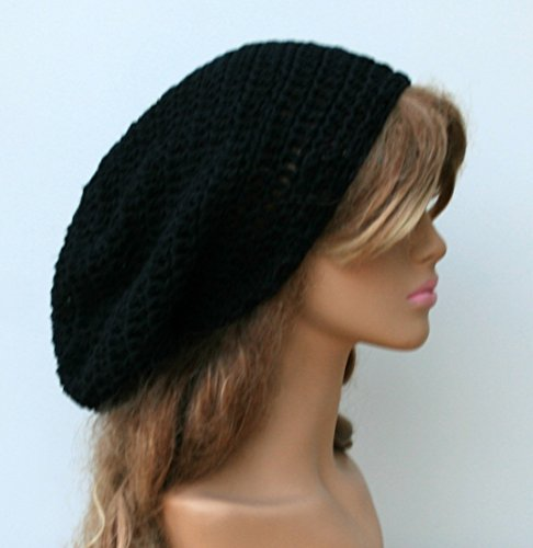 Handmade Slouchy Beanie cotton black Tam Dreadlocks hat, Hippie Beanie Hat